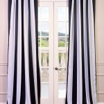 Awning Black & White Stripe Blackout Curtain