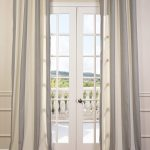 Del Mar Gray Grommet Linen Blend Stripe Curtain