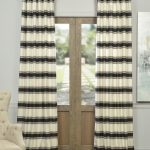 Tyler Black And Cream Horizontal Stripe Jacquard Curtain
