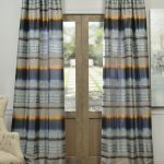 Eden Grey Blue Faux Silk Jacquard Curtain