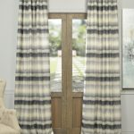 Surge Grey Ivory Horizontal Stripe Faux Silk Jacquard Curtain