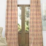 Dart Rust Faux Silk Jacquard Curtain
