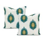 Mayan Teal Printed Cotton Cushion Cover (Pair)