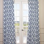 Clover Blue Printed Cotton Twill Curtain