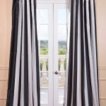 Dark Charcoal Off White Blackout Faux Silk Taffeta Stripe Curtain