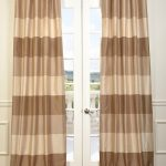 Stone Café Latte Faux Silk Taffeta Stripe Curtain